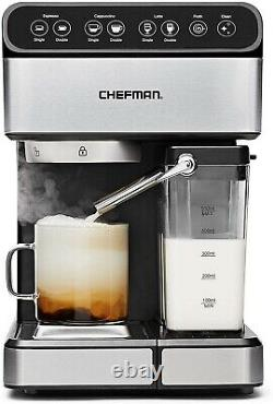 6 in 1 Espresso Coffee Machine Cappuccino Maker Latte withSteam Glass Pot Washable