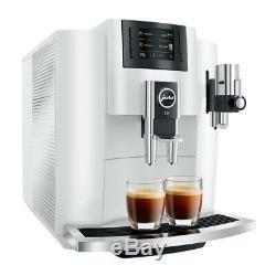 Jura E8 Smart Espresso Coffee Machine, White & Glass Milk Container Bundle Set