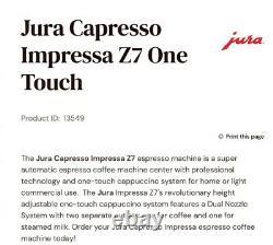 Jura Impressa Z7 One Touch Coffee Espresso Machine. Probably needs servicing