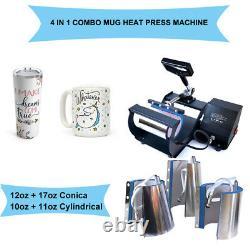 Mug Heat Press Transfer Machine 10Oz-12Oz 17Oz 4 in 1 Coffee Cup Sublimation US