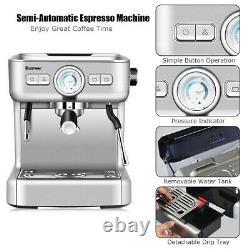 Semi-Auto Espresso Machine Coffee Maker Water Tank Steel with Milk Frother Wand