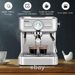 Semi-Auto Espresso Machine Maker Water Tank Pump Pressure with Milk Frother Wand