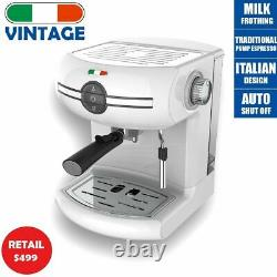 Vintage Traditional Pump Espresso Coffee Machine Manual Cappuccino Latte White